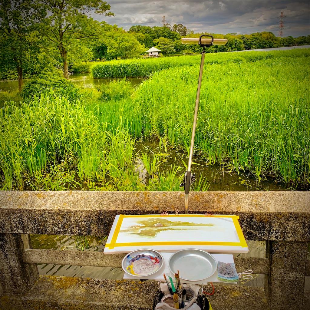 山田池公園の風景を水彩でスケッチ