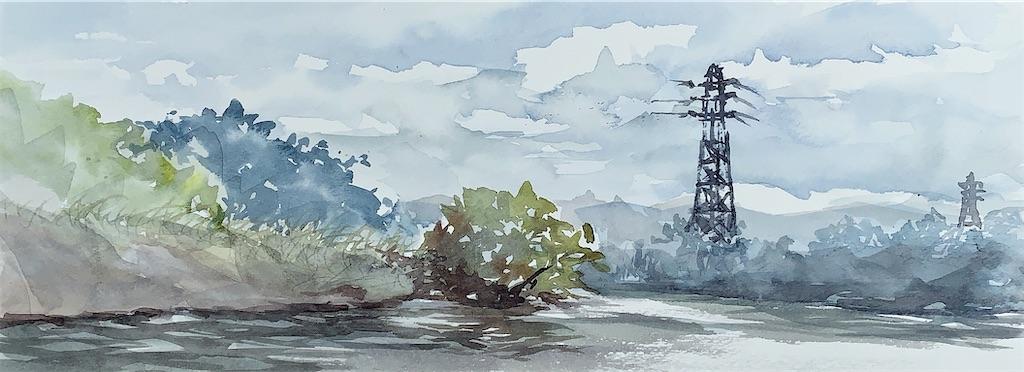 伏見港公園の風景を水彩でスケッチ
