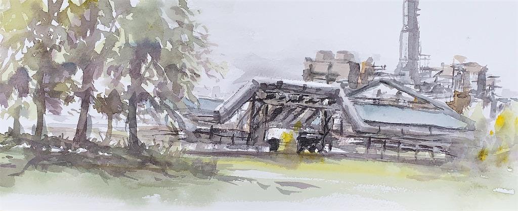 堺の大浜北公園にて工場群の風景を水彩でスケッチ