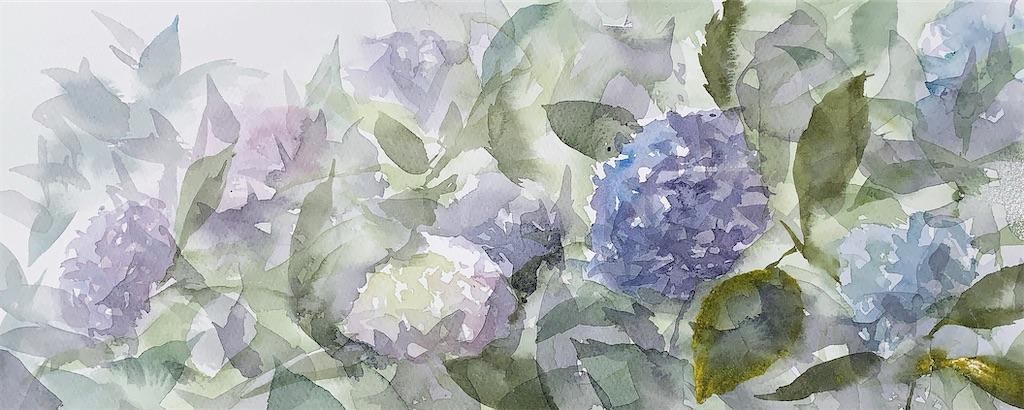水彩画 風景画 スケッチ 長居植物園 アジサイ あじさい 紫陽花