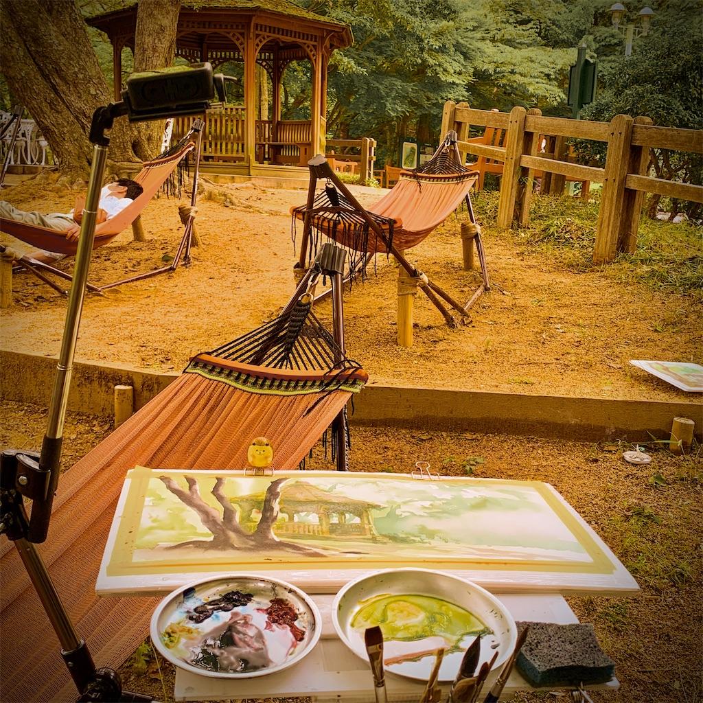 神戸布引ハーブ園の風景を水彩でスケッチ