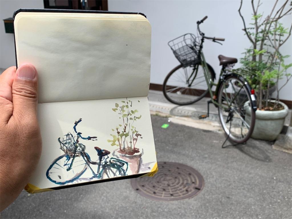 水彩画 風景画 スケッチ 描き方 技法 大阪 中崎町 自転車