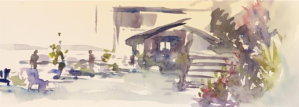 水彩スケッチ 風景スケッチ 水彩画 風景画 大阪 中之島
