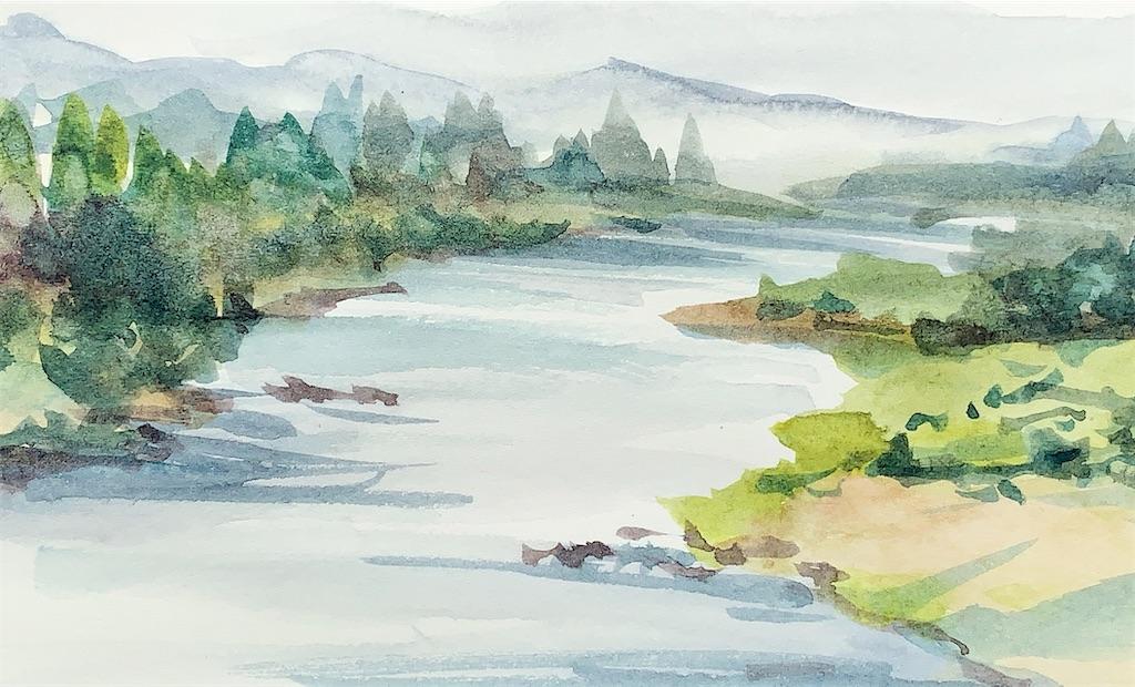 京都亀岡にて田園の風景を水彩でスケッチ