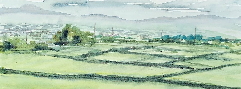 京都の亀岡にて水彩で田園の風景をスケッチ