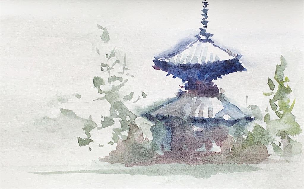 大阪の藤田邸跡公園にて水彩で風景スケッチ
