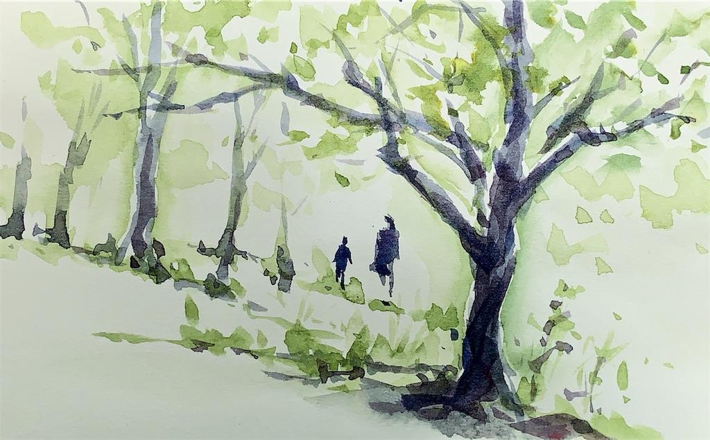 大阪の鶴見緑地にて水彩で風景スケッチ