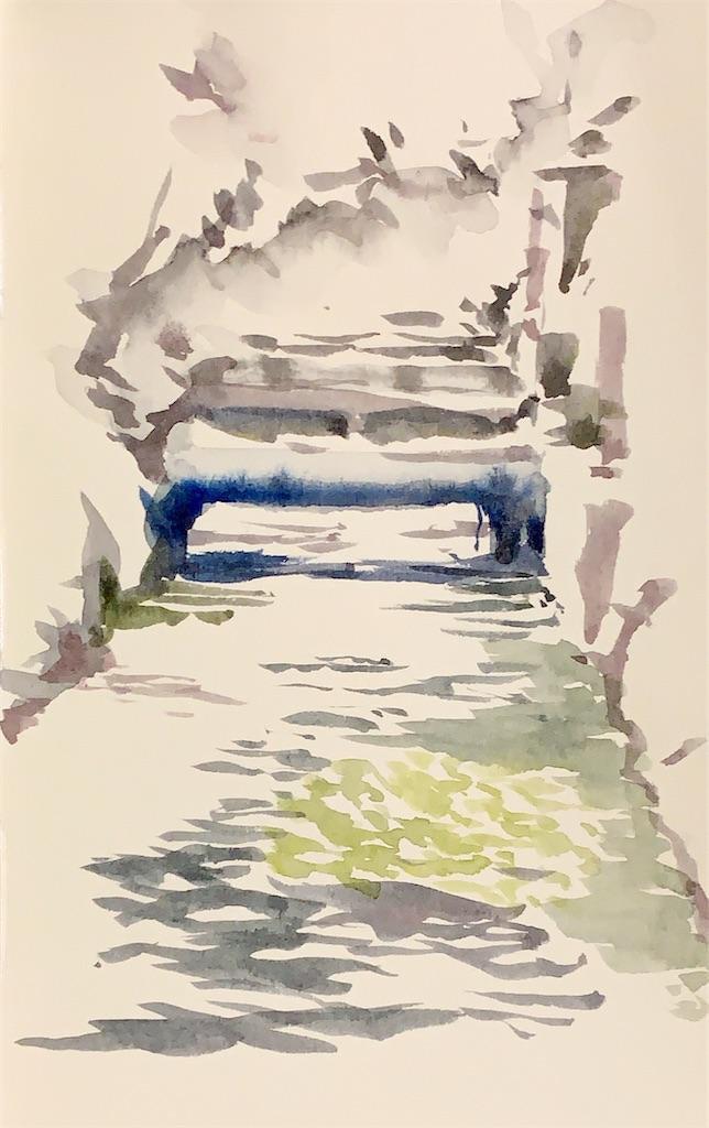 滋賀の醒ヶ井にて水彩で風景スケッチ
