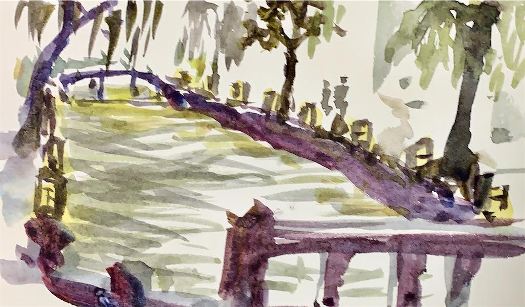 京都東山の白川にて水彩で風景スケッチ