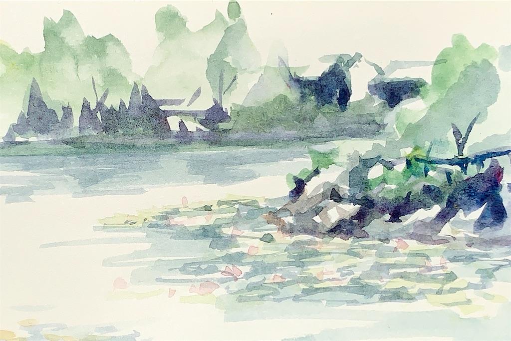 奈良菖蒲池の風景を水彩でスケッチ