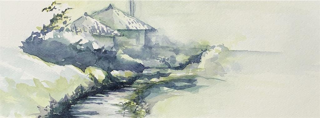 滋賀近江中庄にて水彩で風景スケッチ
