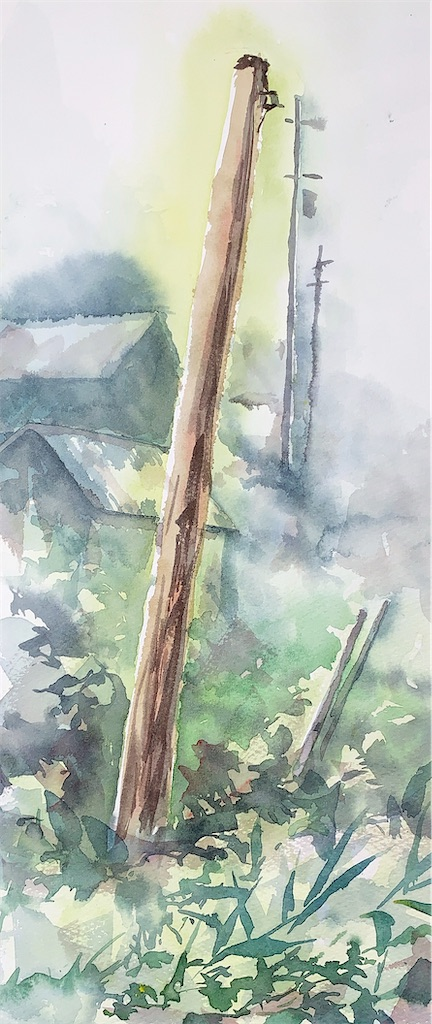水彩画 風景画 スケッチ 滋賀 近江中庄