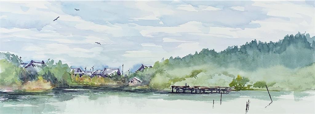 近江高島乙女ヶ池にて水彩で風景スケッチ