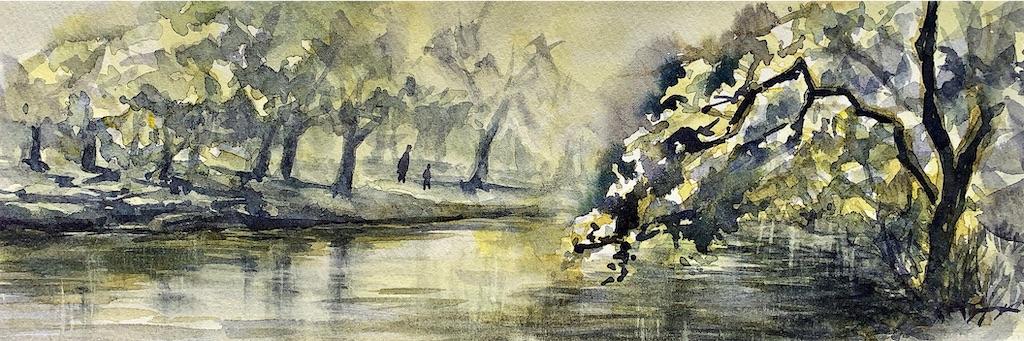 京都府立植物園にて水彩で風景スケッチ