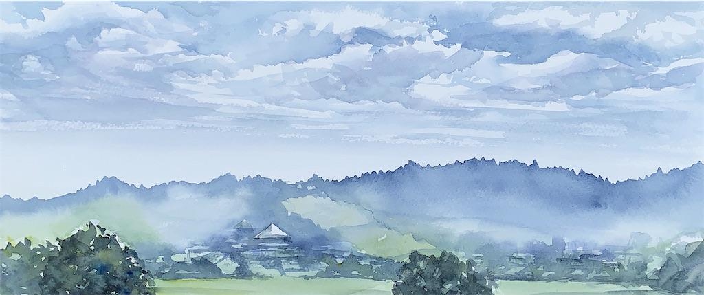 奈良平城宮跡にて水彩で風景スケッチ