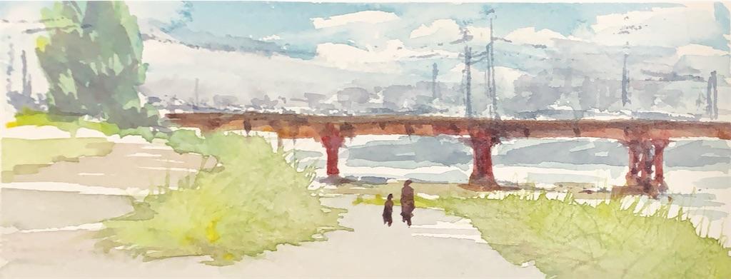 大和川の風景を水彩スケッチ