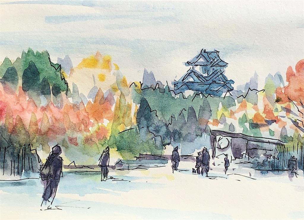 大阪城公園にて風景を水彩スケッチ