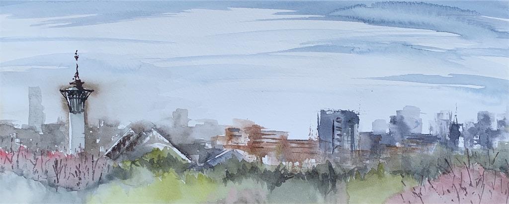 大阪、鶴見緑地にて水彩で風景をスケッチ