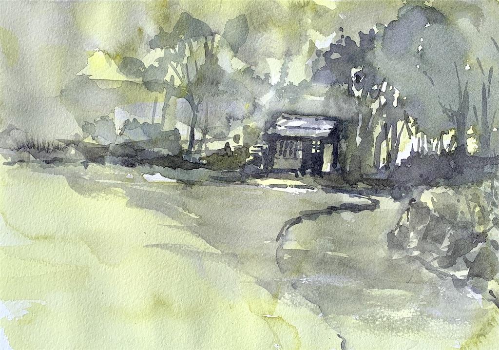 大阪富田林、錦織公園にて水彩で風景スケッチ