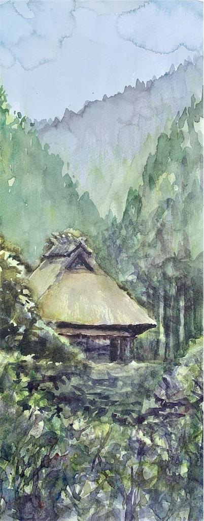 滋賀の葛川にて水彩で茅葺き屋根の古民家をスケッチ
