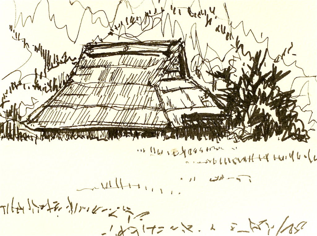 兵庫、丹波市山南町にてマーカーで風景スケッチする