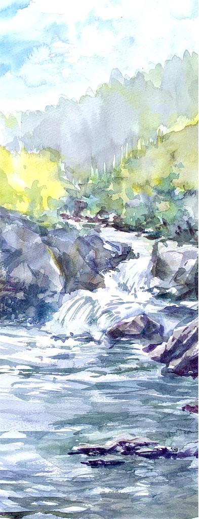 兵庫、丹波市山南町にて水彩で風景スケッチする