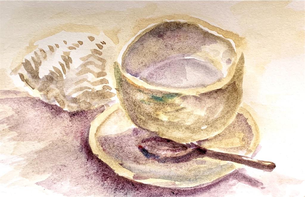 大阪、枚方の星ヶ丘SEWING TABLE COFFEEにて水彩でカフェスケッチ