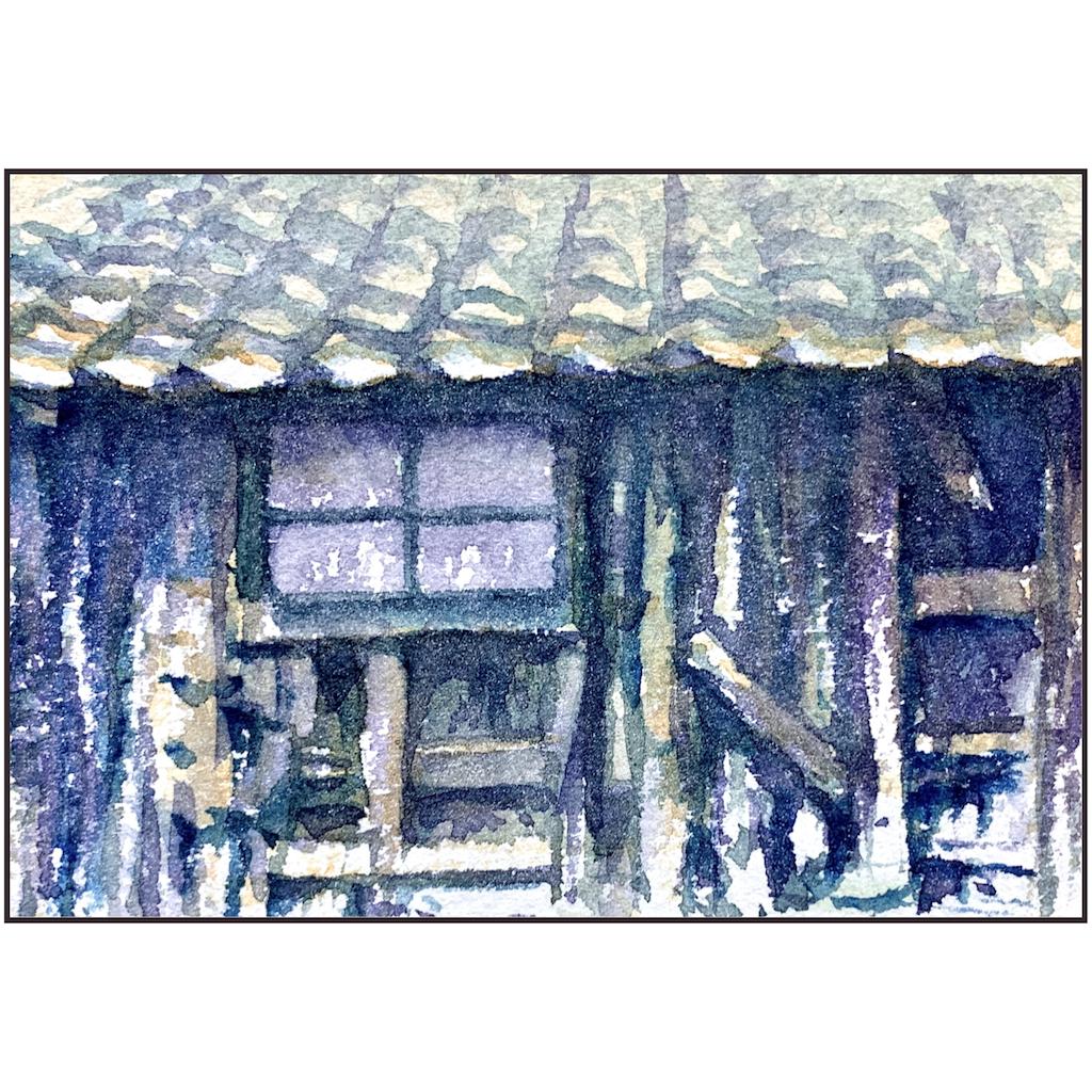 大阪、地元の風景を画像から描いた小さな水彩画、スケッチ百景