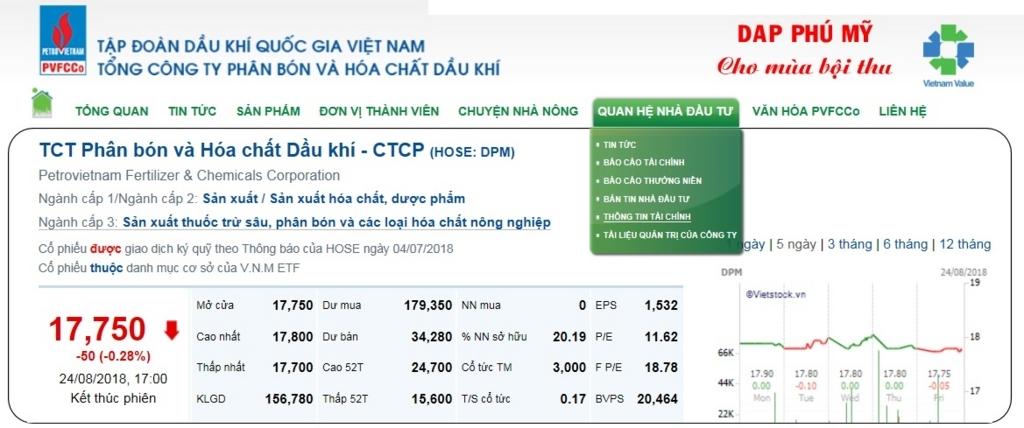 ペトロベトナム化学肥料の財務表