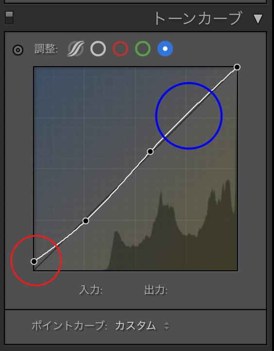 Lightroom「トーンカーブ」編集画面