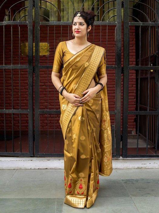 Golden Yellow Banarasi Sarees