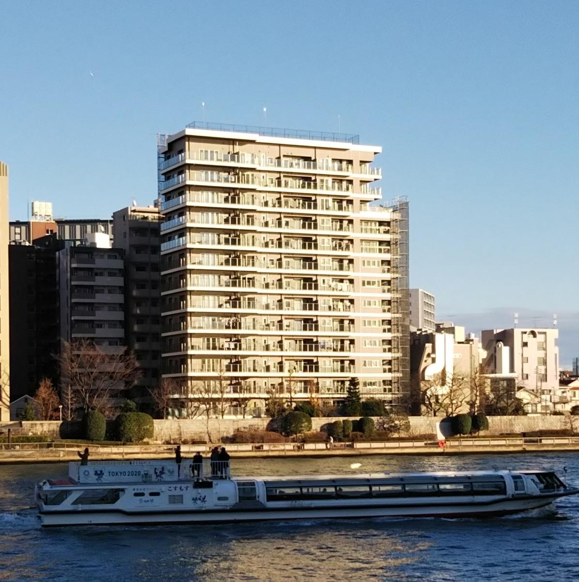 隅田川の対岸からイトーピア東京リバーサイドテラスを望む