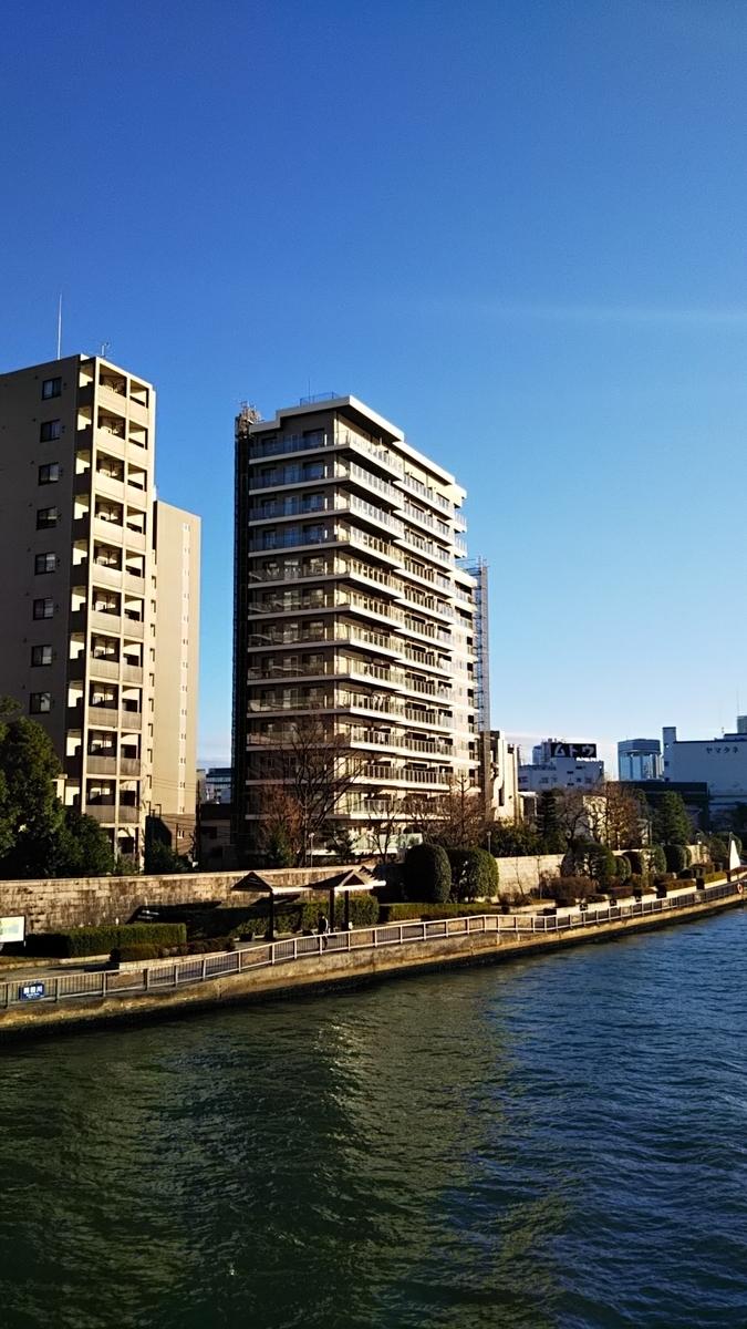 永代橋からイトーピア東京リバーサイドテラスを望む