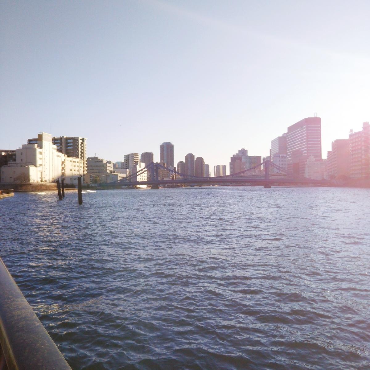 建築現場近くの堤防からの眺め