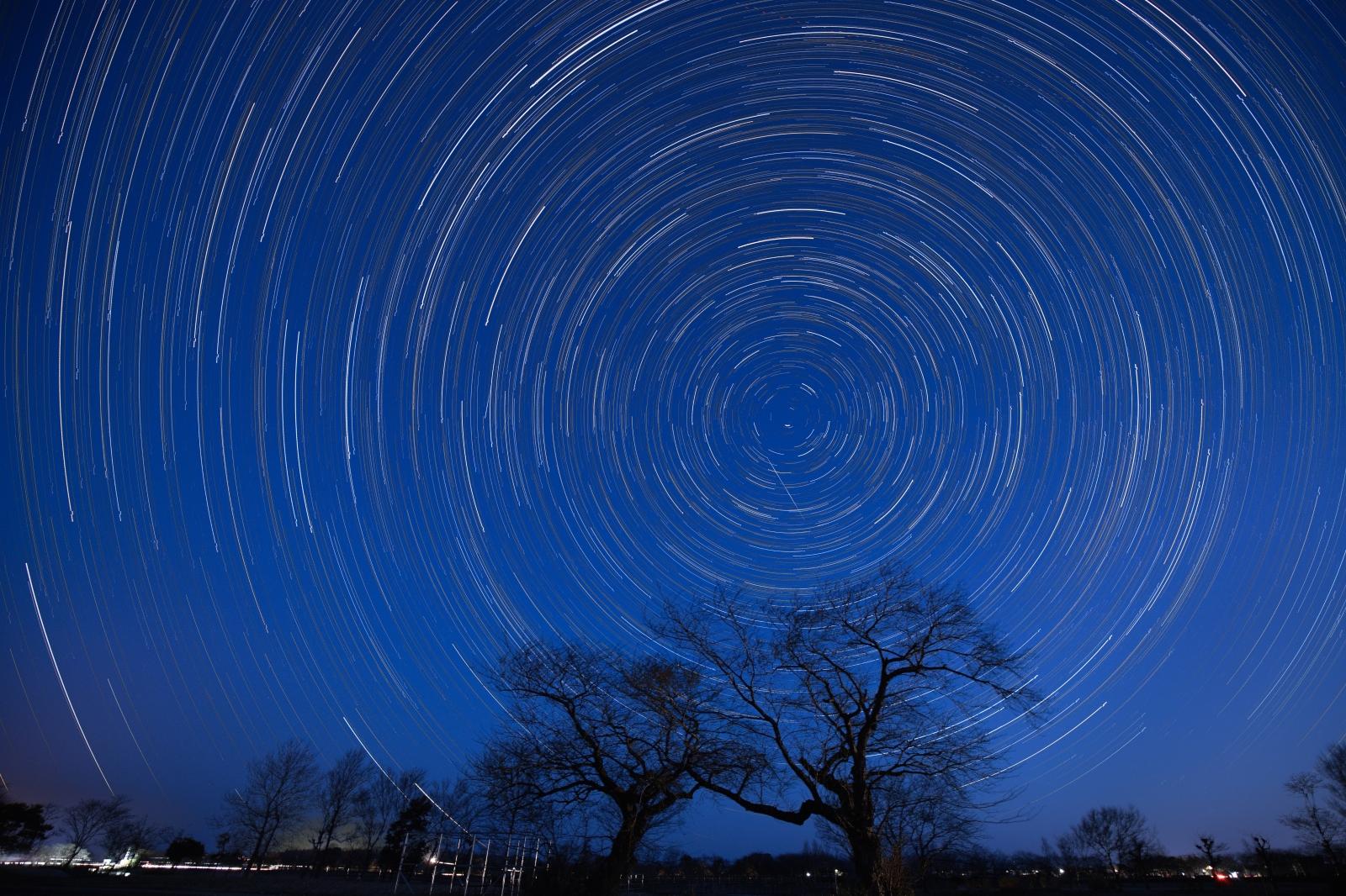 上堰潟公園 スタートレイル 星の軌跡