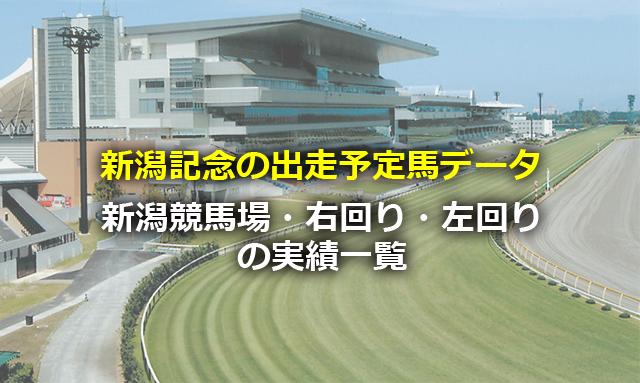 新潟記念の出走予定馬データ,新潟競馬場・右回り・左回りの実績一覧