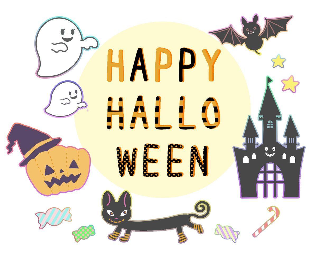 かぼちゃとおばけと黒猫とお城とこうもりの手描きハローウィンフリーイラスト