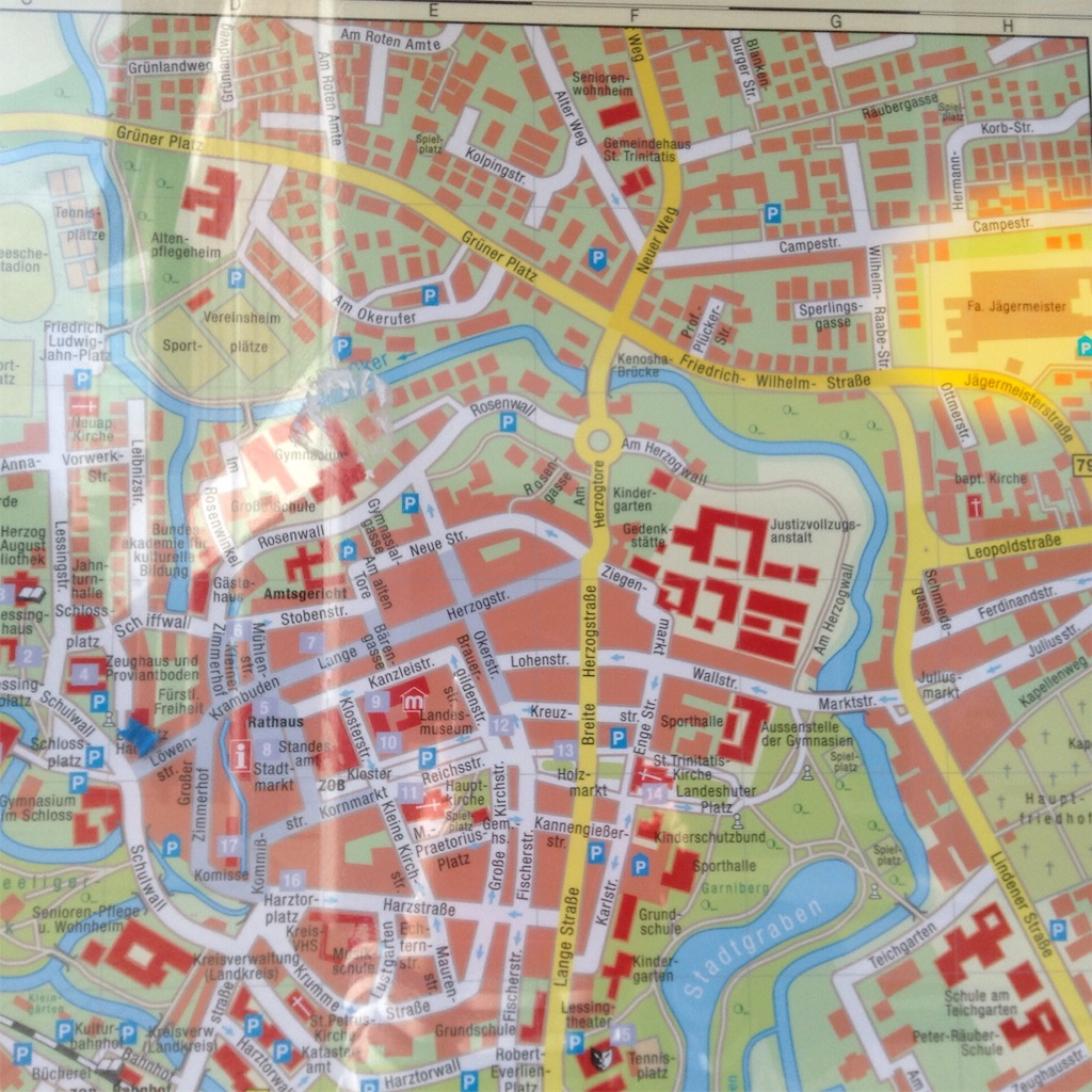 ウォルフェンビュッテルの街の地図