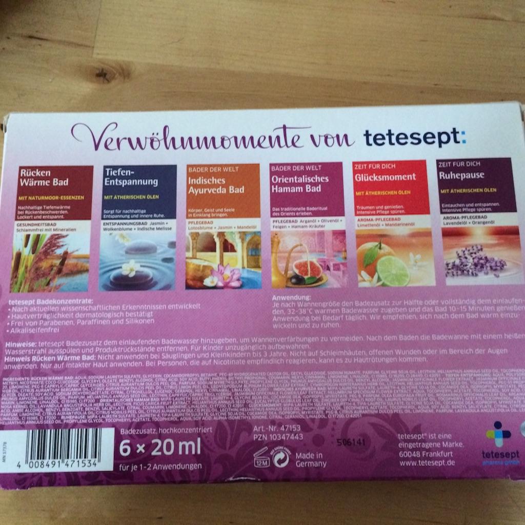 ドイツの入浴剤テテセプト五個入りの箱の裏表示