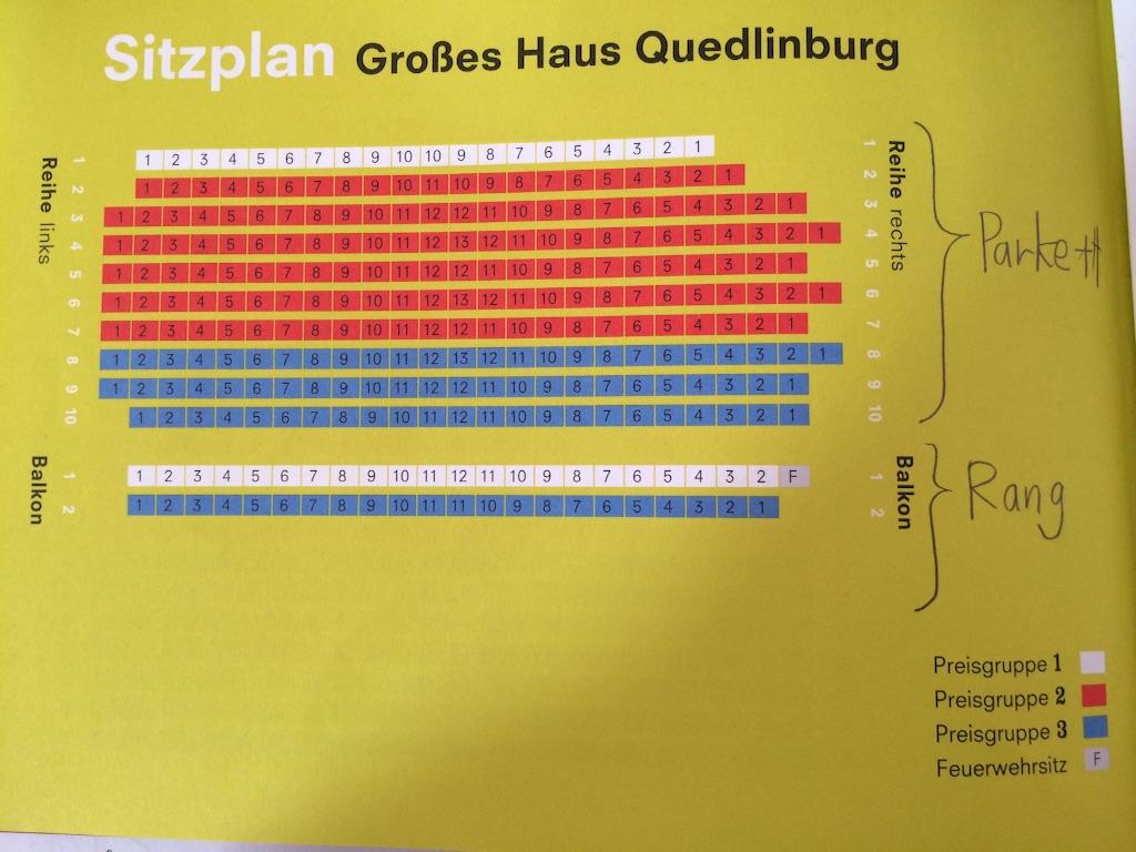 ドイツのクゥエドリンブルク劇場の座席表
