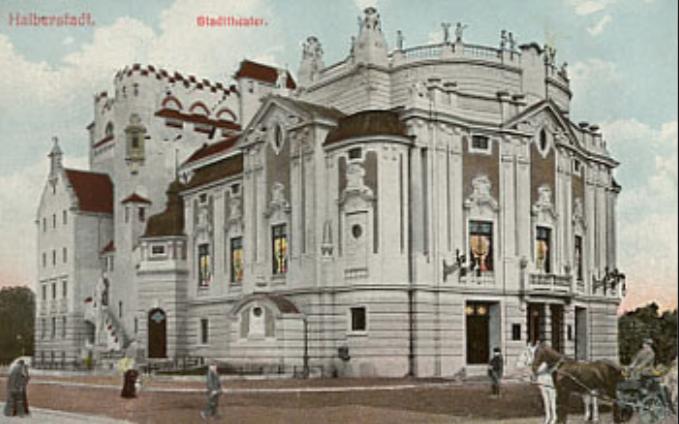 1912年頃のドイツのハルバーシュタット劇場の外観、ポストカードの絵