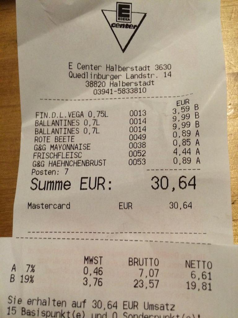 ドイツのスーパーのレシート消費税が19パーセント(飲み物類)7パーセント食べ物
