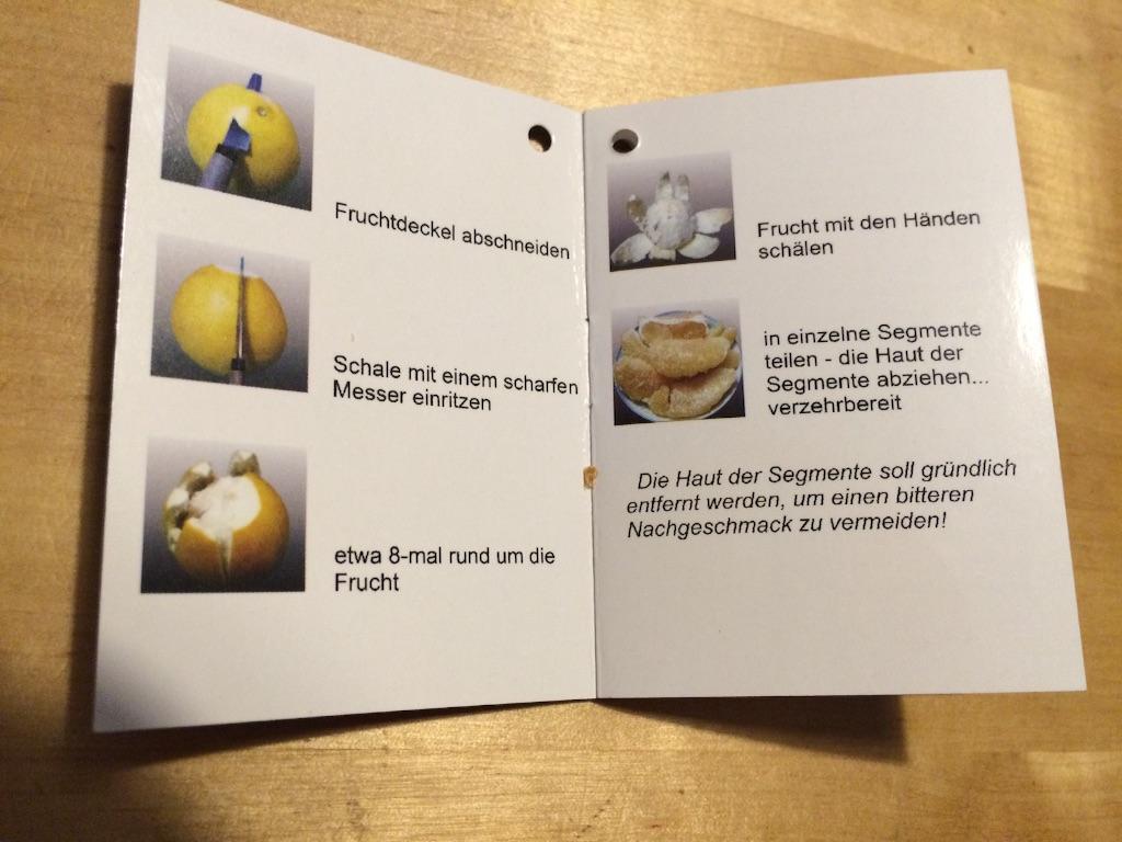 文旦の食べ方のドイツ語の説明書、写真付き