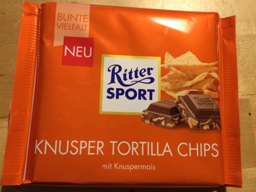 リッタースポーツチョコレートRitter sport Schokolade限定商品、トルティーヤチップス入り
