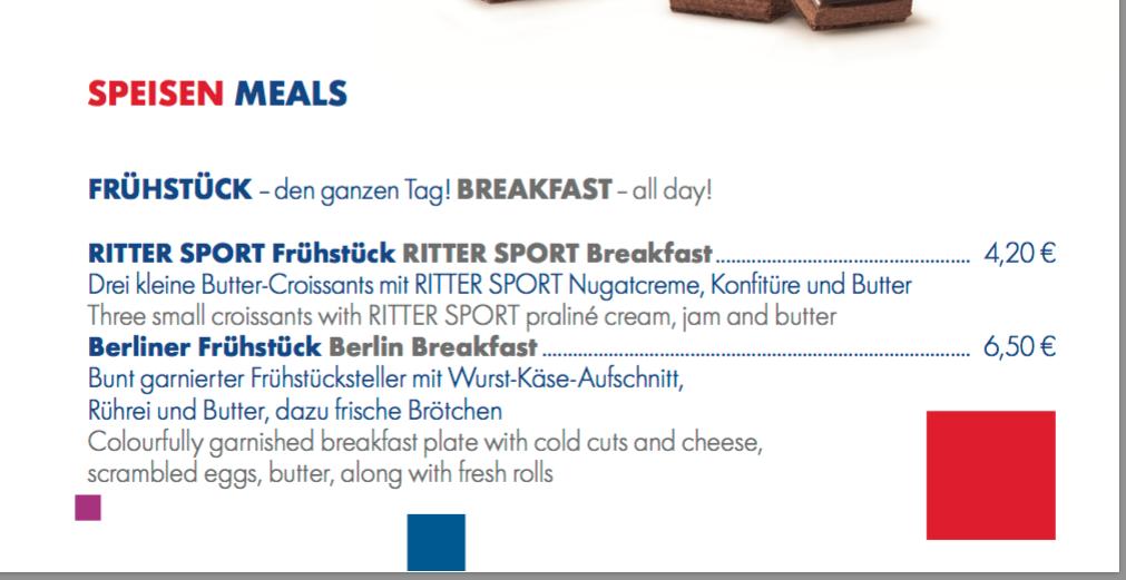 ベルリンのリッタースポーツチョコレートショップ兼カフェ、カフェの朝食メニュー