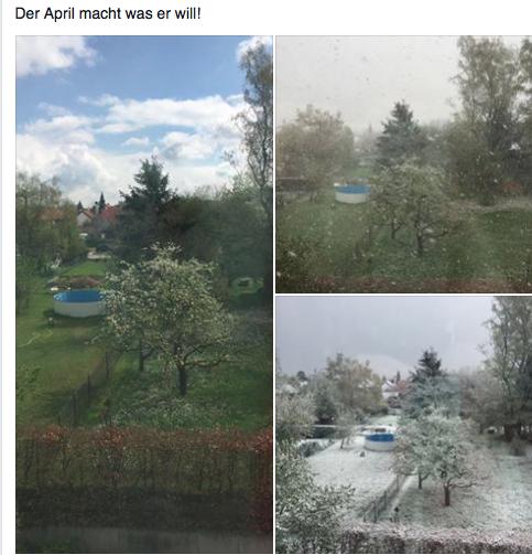 4月24日2016年ドイツ異常気象写真、雨、晴れ、雪