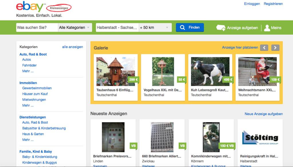 ドイツのebaykleinanzeigenサイトのトップ画面、見出し