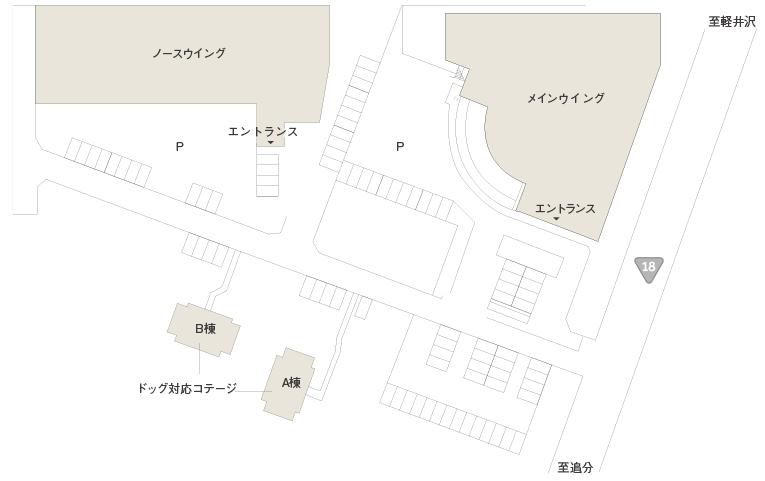 軽井沢マリオットホテルの敷地案内図