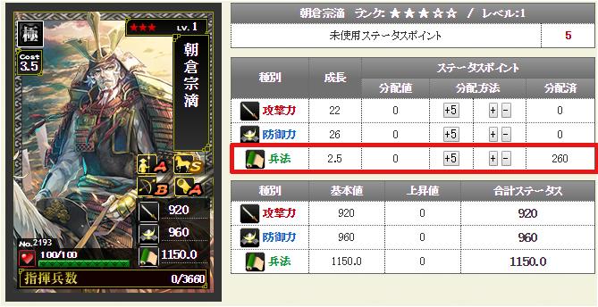 兵法成長値2.5の武将カード