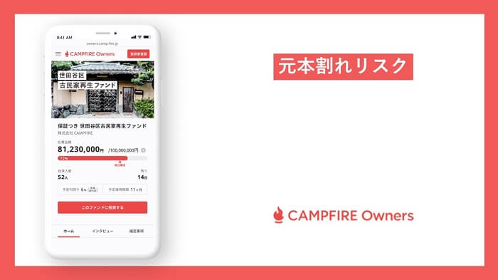 CAMPFIRE Owners,元本割れリスク